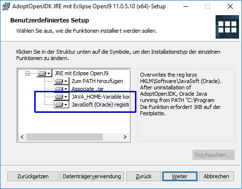 AdoptOpenJDK JRE Installer with registry keys