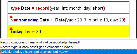 Three analyser messages because of record type violations