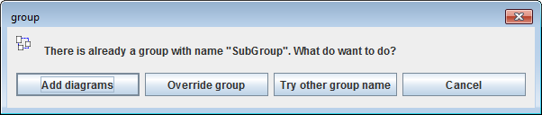 Option dialog for existing name of new group
