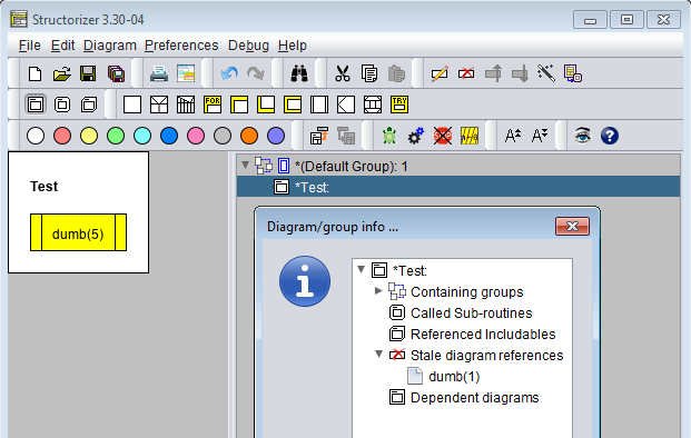 Diagram info box in Arranger index with stale references