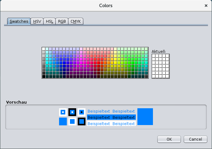 Typical color chooser dialog