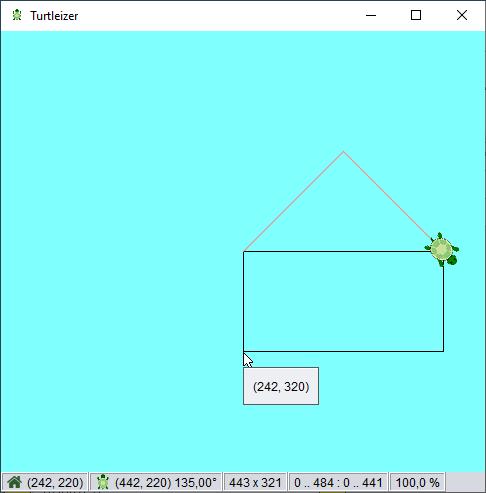 Turtleizer window with drawn hut