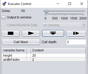 """Executor control with """"step into"""" button"""