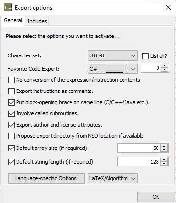 Export option dialog with Favorite Code Export