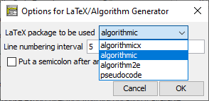 Language-specific export options for LaTeX