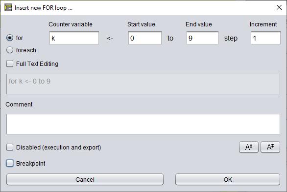FOR loop editor
