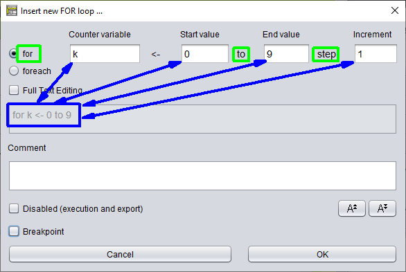 FOR loop separator provenance