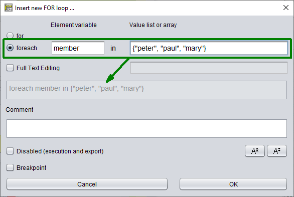 FOR loop editor in traversing form mode
