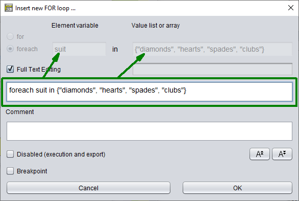 FOR-IN loop editing via the compound text area