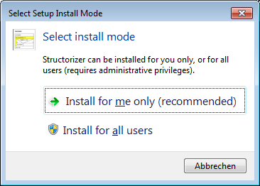 Windows installer - mode choice
