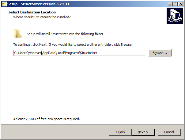 Windows installer - destination folder choice