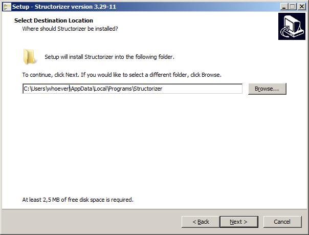Windows installer - destination folder choice