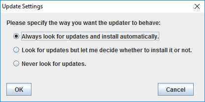 About window - update settings