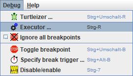 Debug menu with the Executor item selected