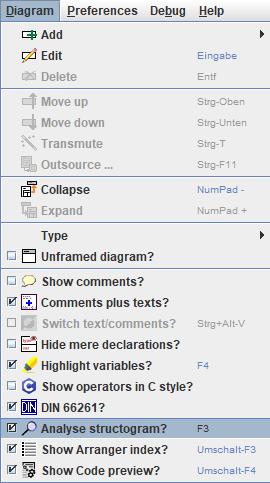 Diagram menu item Analyse structorgram