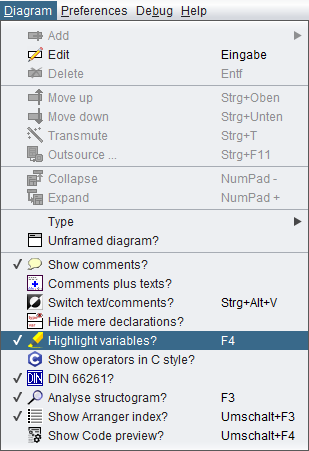 Diagram menu with highlight option selected