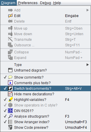 Diagram Menu with emphasised Switch option