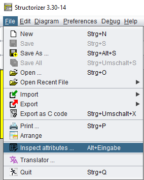 File menu with attribute inspector entry
