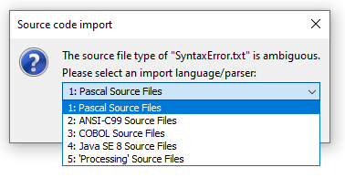 Parser choice dialog for ambiguous import files