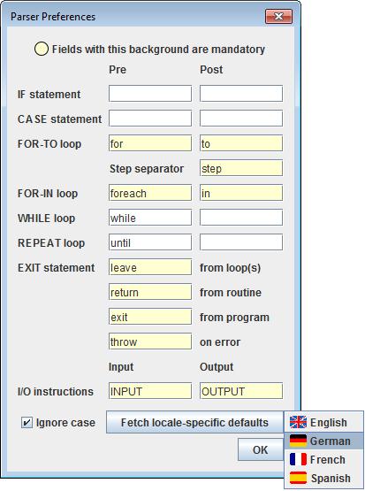 Language-specific keyword sets, version 3.29-07