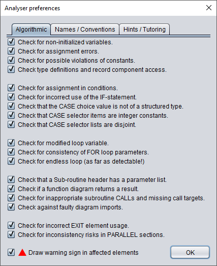 Analyser settings tab 1 (algorithmic issues)