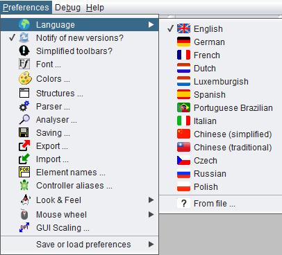 Opened language menu