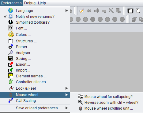 Preferences menu with mouse wheel submenu emphasised