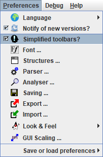 Preferences menu 3.31-03 with Simplified toolbars? selected