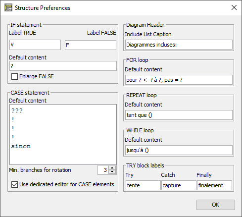 Structure Preferences dialog with french keywords
