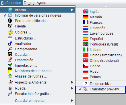 Indication of the locale preview in the language menu