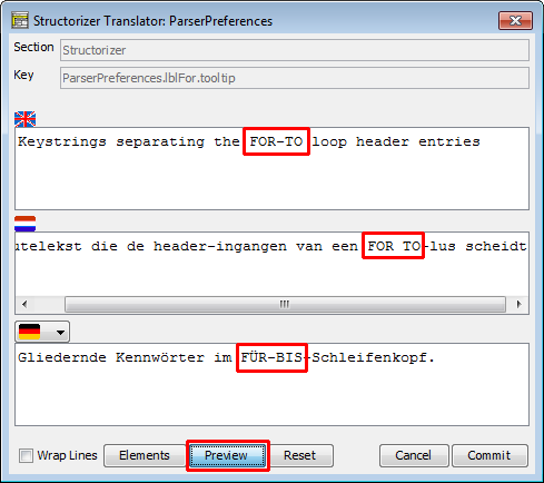 Translator Row Editor (with substituted placeholders)