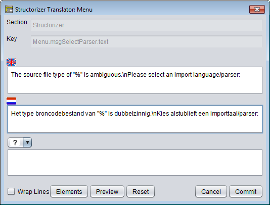 Translator Row Editor (initial view)