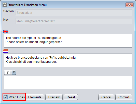 Translator Row Editor (initial view)