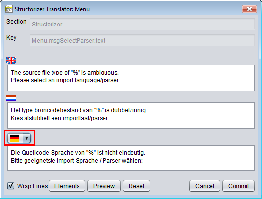 Translator Row Editor with comparison language