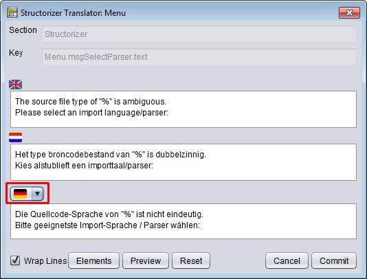 Translator Row Editor with comparison language