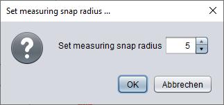 Dialog to adapt the measuring snap radius