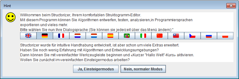 Welcome dialog in German language